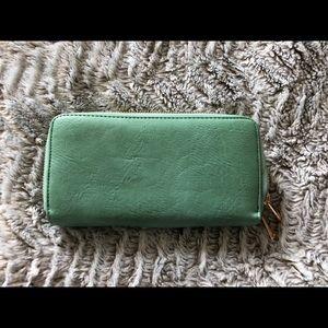 Mint Double Zipper Wallet